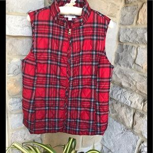Red Tartan Plaid Croft and Barrow Vest Size Med